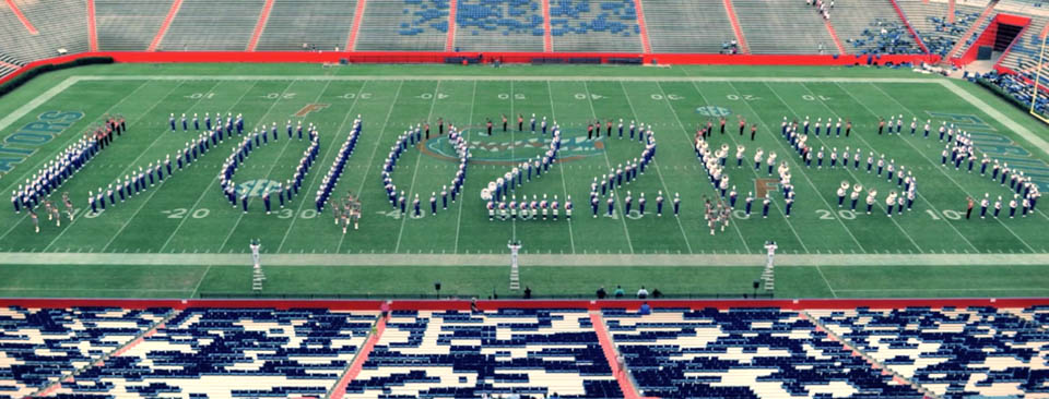 The UF Marching Band spells out the Florida Tomorrow Campaign total