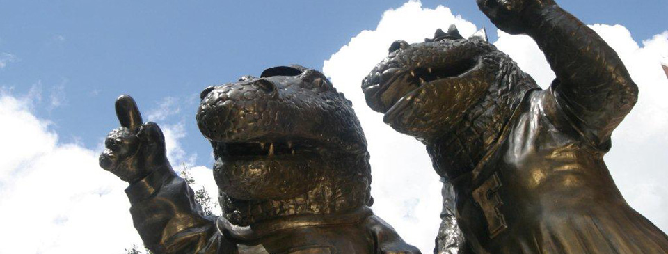 The Albert and Alberta statues at the University of Florida